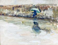 Impressionist School (20th century): Fisherman on the Riverside
