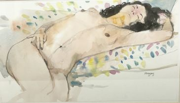 Trevor Hugh Stubley (British 1932-2010): 'Reclining on a Spotted Cushion