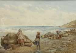 Kate E Booth (British fl.1850-1898): 'The Limpet Pickers'