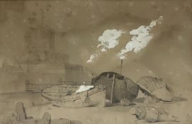 David Cox Snr (British 1783-1859): Beached Fishing Boats near Pier