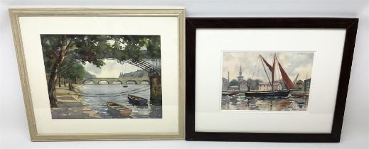 Angela Stones (British 1914-1995): 'The Thames at Kinston Bridge' and Sailing Boat on Thames