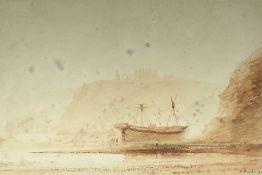 Henry Barlow Carter (British 1804-1868): Large Ship Anchored at Whitby
