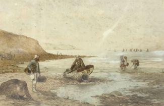 Kate E Booth (British fl.1850-1898): 'Fisherfolk'