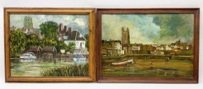 Anthony Harold Crake (British 1942-): Coastal and Riverfront Scene