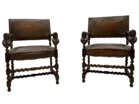 Pair late 19th century oak barley twist framed open armchairs