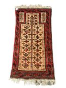 Baluch red and light brown ground prayer rug