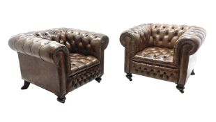 Large pair of Country House chesterfield club armchairs of generous proportions