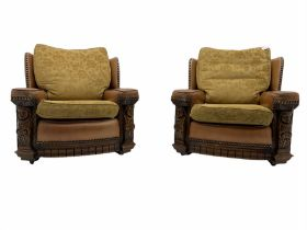 Pair of 1930�s carved oak framed club chairs