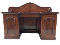 19th century figured mahogany twin pedestal sideboard