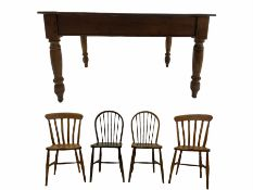 19th century oak and sycamore kitchen table