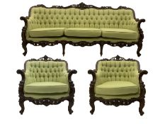Late 20th century continental baroque three piece lounge suite
