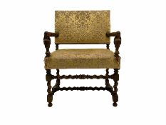 Early 20th century wide seat upholstered armchair