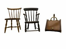 Two 19th century childs chairs and a walnut fall front coal box (3)