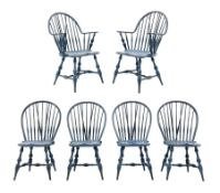D.R. Dimes Furniture - set six American Windsor dining chairs