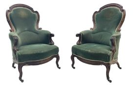 Pair of Victorian rosewood drawing room armchairs