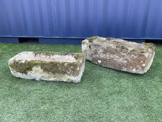 Two 18th/19th century tooled weathered sandstone troughs