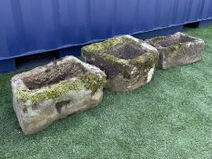 Three small 18th/19th century weathered sandstone trough/planters