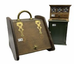 Wooden coal scuttle with metal detail H42cm