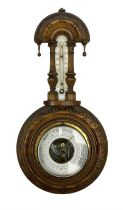 Small wheel barometer with thermometer