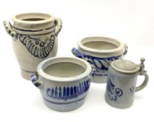 Three Westerwald stoneware twin handled pots