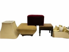 Two ottomans with hardwood legs