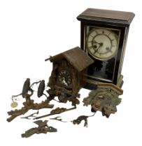 Mantle clock H35cm together with two cuckoo clocks