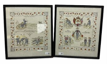 Two framed prints on linen