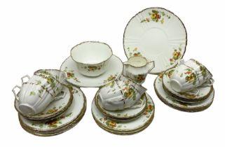 Tea set with printed decoration of nasturtium flowers