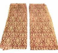 Pair of Victorian flocked fabric curtains decorated with birds and stylised floral motifs in sienna