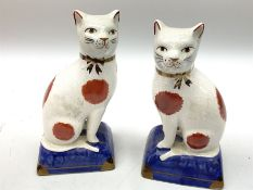 Pair of Staffordshire style cats