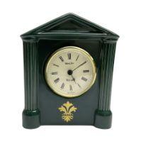 Hornsea emerald green Westclox Warwick ceramic mantel clock with battery operated movement