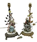 Two Capodimonte table lamps with seated lady and gentleman upon brass bases with floral decoration