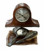 1940's mahogany veneered eight-day Tambour clock with a French eight-day movement striking the hour
