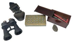 Mahogany box containing wax sticks