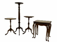 Mahogany plant stand and two wine tables and walnut nest of tables (4)