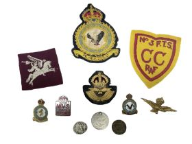 Quantity of RAF and other fabric and metal badges
