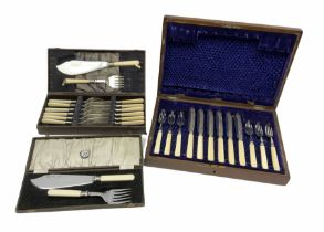 Silver plated fish knives and forks in hardwood case with brass inlay along with another cased set o