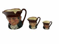 Three graduating Royal Doulton character jugs