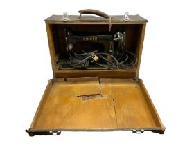 Cased vintage Singer sewing machine
