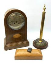 Ogden of Harrogate walnut cased mantel clock with silvered roman dial