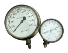 Brass 'Budenberg Gauge Co' pressure gauge and another similar brass example