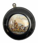 Victorian prattware pot lid in ebonised frame