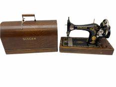 Cased vintage Singer hand sewing machine
