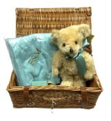 Merrythought for Fortnum & Mason teddy bear with blanket housed in wicker basket