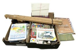 Daler Rowney artist's easel together with a collection of art supplies