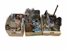 Quantity of brass and metal ware