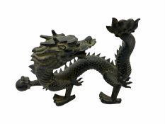 Chinese bronzed figure of a dragon