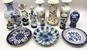 Late 19th century Chinese porcelain blue and white plated