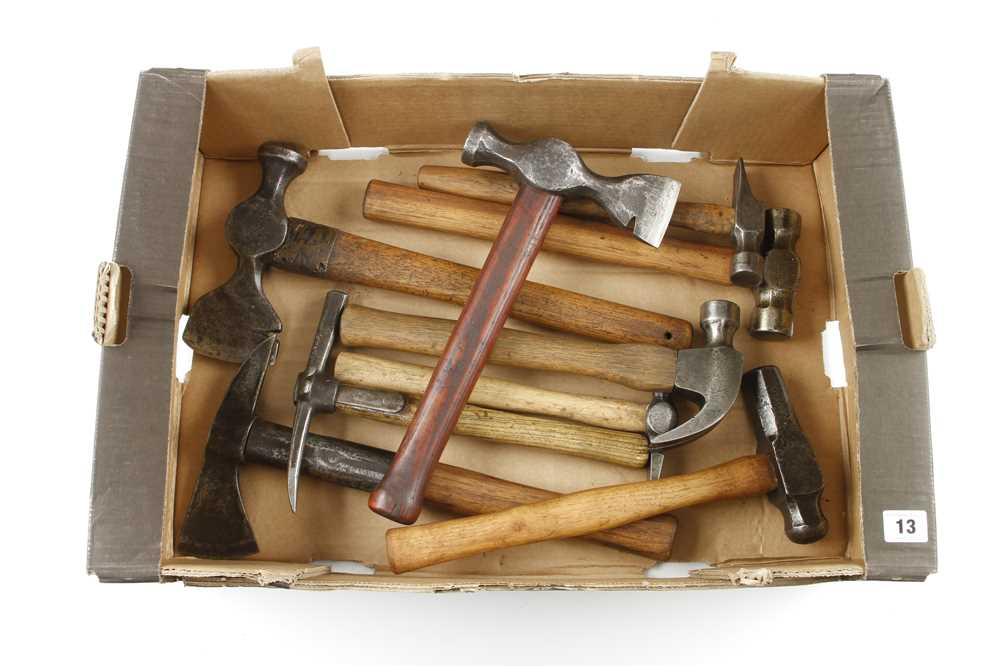A fireman's axe and 8 hammers etc G+