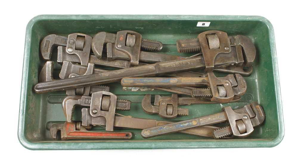 "Ten stilson type wrenches 10"" to 24"" G"